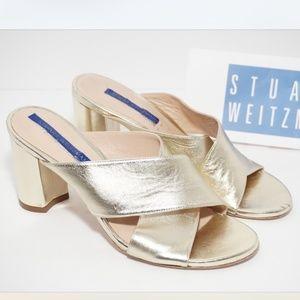 Stuart Weitzman Shoes Heels Slides Sandals Gold 7
